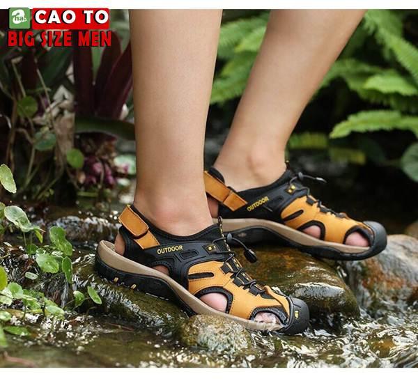 Giày Sandal Bít Mũi Outdoor Màu Nâu Bigsize Men 4