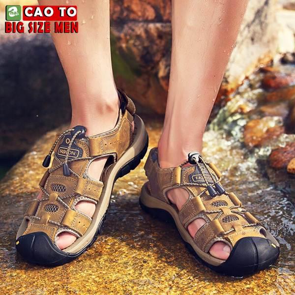 Giày Sandal Bít Mũi Anti-collision Outdoor Vàng Nâu 10